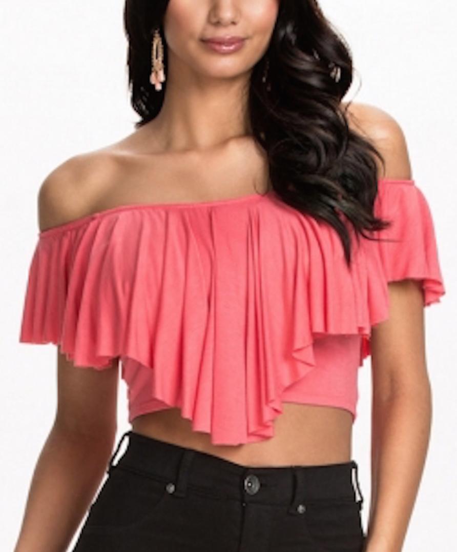 833be34c335c3 Pink Flouncing Ruffles Off-Shoulder Crop Tops