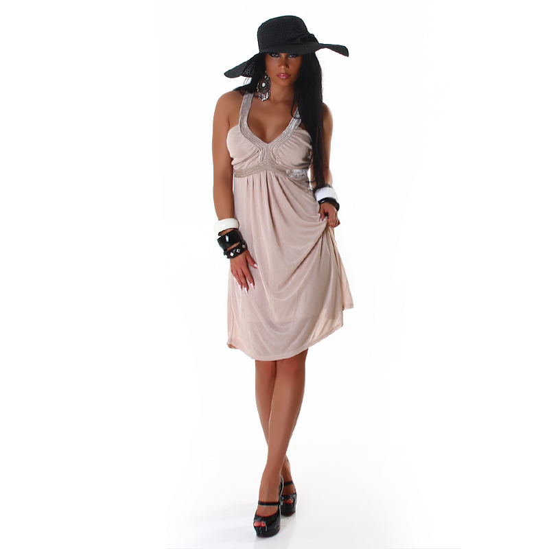 Beige Nude Summer Sheer Overlay Halter Sun Dress