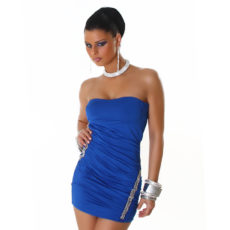 Blue Ruched Embellished Strapless Mini  / Club Dress