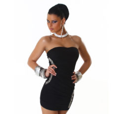 Black Ruched Embellished Strapless Mini  / Club Dress