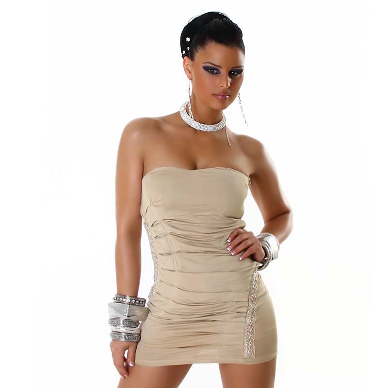 Tan Ruched Embellished Strapless Mini  / Club Dress