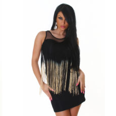 Black & Tan Fringe Tank Mini  / Club Dress