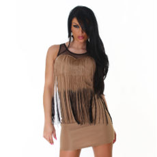 Tan & Black  Fringe Mesh Tank Mini  / Club Dress