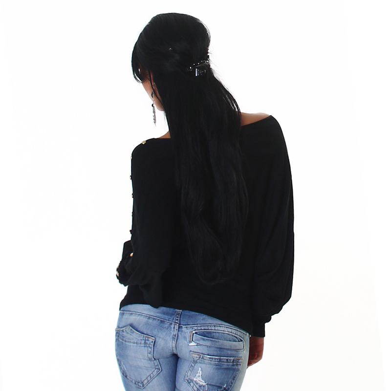 Gold Studded Black Kimono Boat Neck Off The Shoulder Fashion Top Sweater