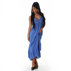 Breezy Blue Ruffle Bottom Maxi Dress