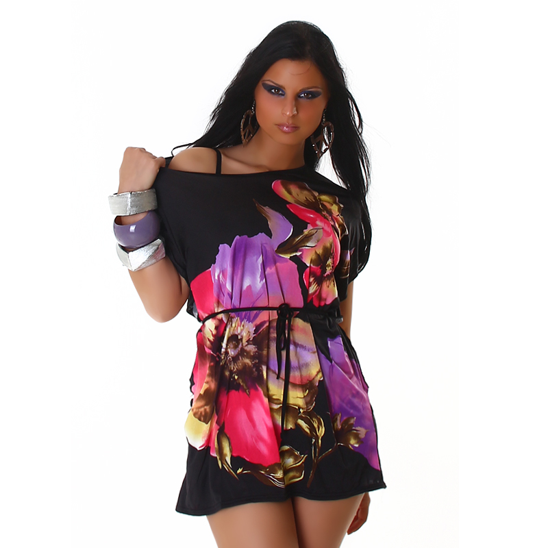 Sweet Bold Black Pink & Purple Floral Kimono Tunic with Belt
