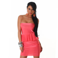 Coral Pink Peplum Strapless Mini  / Club Dress
