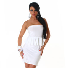 White Peplum Strapless Mini  / Club Dress