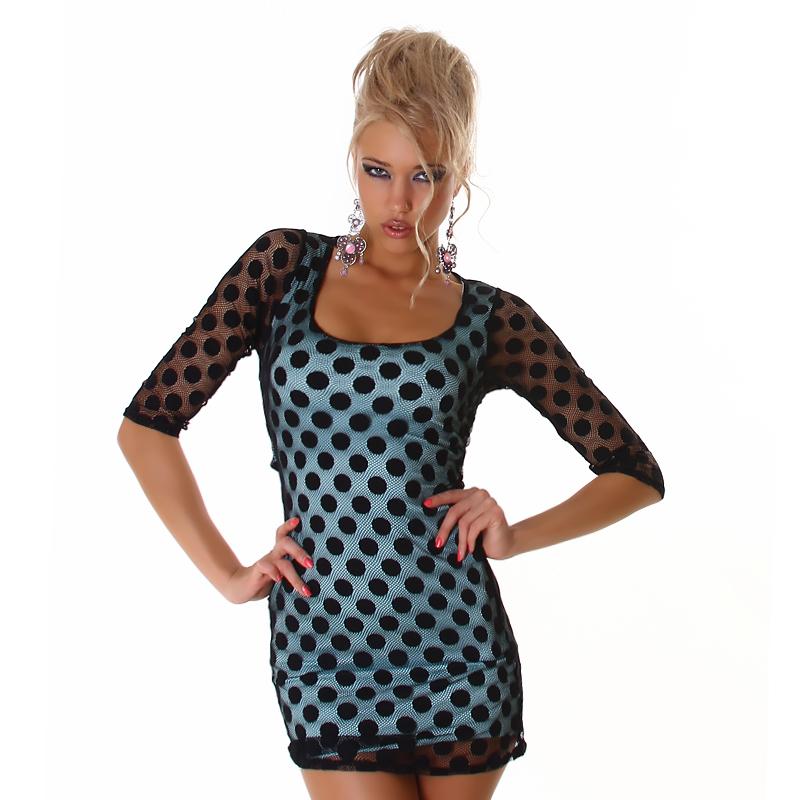 Teal & Black Polka Dot Crochet Cut Out Mini Dress or Tunic