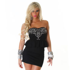 Black  Peplum Embellished Design Strapless Mini  Dress