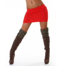 Stretch Ribbed Coral Orange Mini Exotic Club Skirt