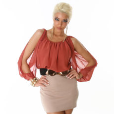 Tan and Rust Orange Skirt Dress with Chiffon like Top and Belt