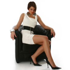 White Cowl Neck Belted Dress with Ruching