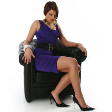 Purple Cowl Neck Belted Dress with Ruching