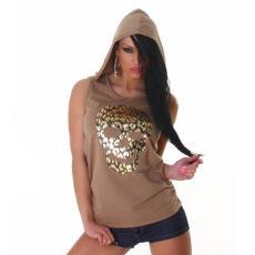 Light Brown & Metallic Tank Styled Lace Skull Hoodie Sweater