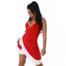 Red & White Summer Halter Wrap Exotic Salsa Halter Sun Dress