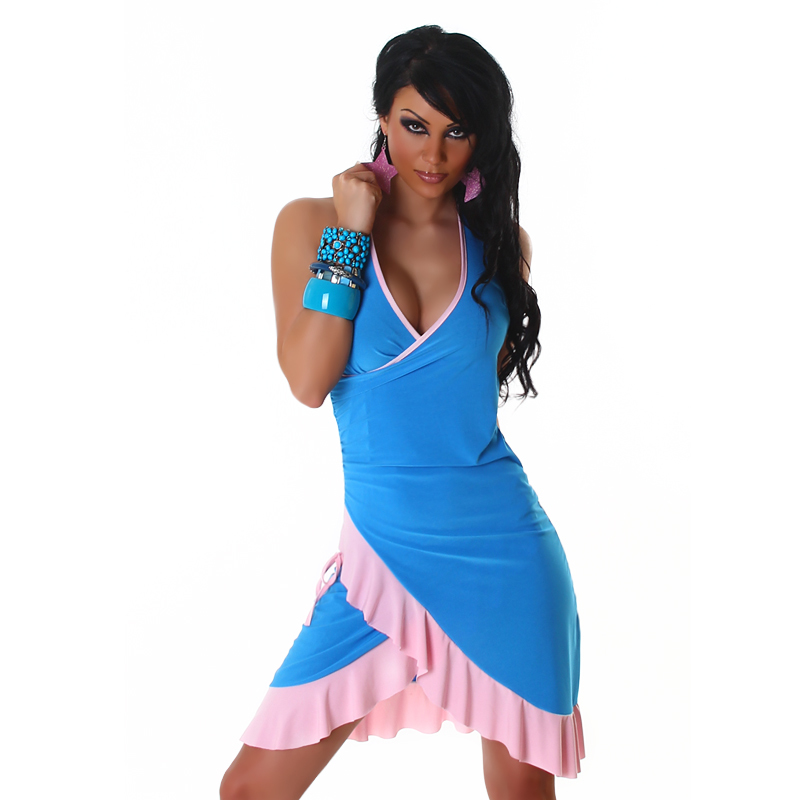 Baby Blue & Pink Summer Halter Wrap Exotic Salsa Halter Sun Dress
