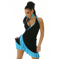 Little Black & Baby Blue Summer Halter Wrap Exotic Salsa Halter Sun Dress