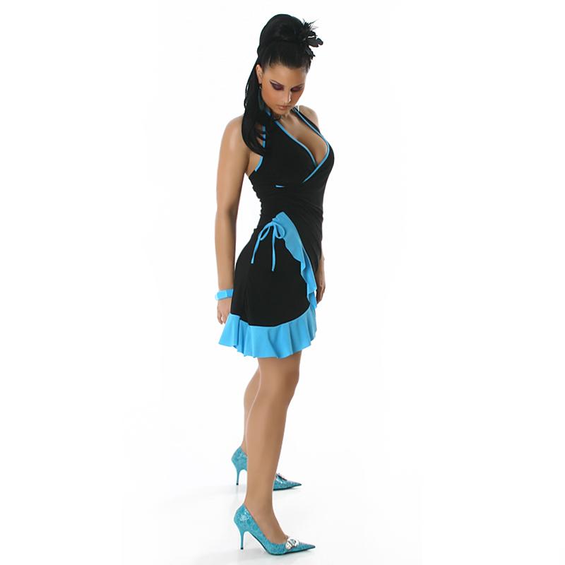 Little Black & Baby Blue Summer Halter Wrap Exotic Salsa Halter Sun Dress