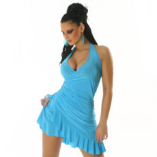 Baby Blue Summer Halter Wrap Exotic Salsa Halter Sun Dress