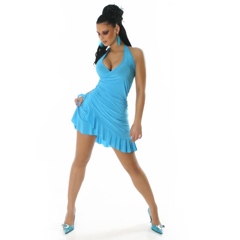 Baby Blue Summer Halter Wrap Exotic Salsa Halter Sun Dress