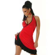 Red & Black Summer Halter Wrap Exotic Salsa Halter Sun Dress