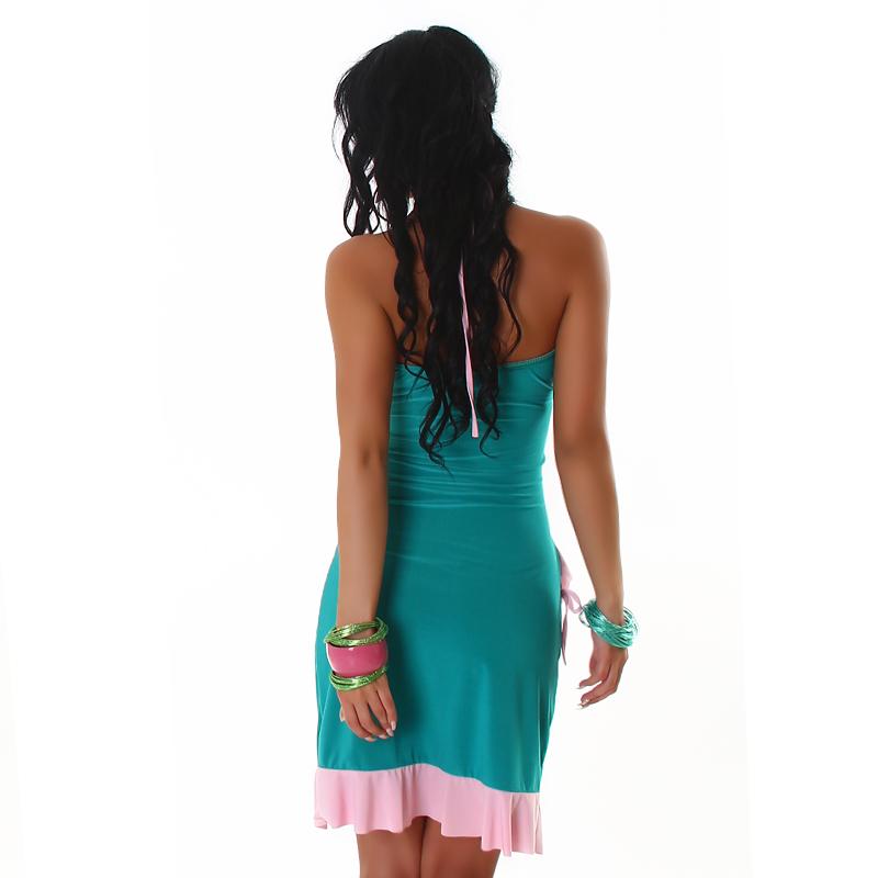 Sea Green & Pink Summer Halter Wrap Exotic Salsa Halter Sun Dress
