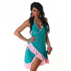 Sea Green & Pink Summer Halter Wrap Exotic Salsa Halter Sun Dress