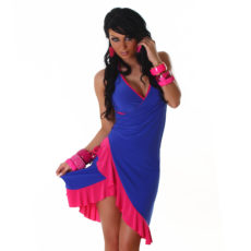 Royal Blue & Pink Summer Halter Wrap Exotic Salsa Halter Sun Dress
