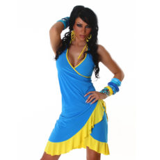 Blue and Yellow Summer Halter Wrap Exotic Salsa Halter Sun Dress