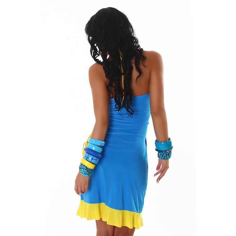 Blue and Yellow Summer Halter Wrap Exotic Salsa Halter Sun Dress