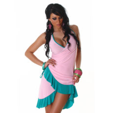 Baby Pink & Sea Green Summer Halter Wrap Exotic Salsa Halter Sun Dress