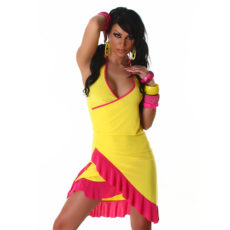 Yellow & Hot Pink Summer Halter Wrap Exotic Salsa Halter Sun Dress