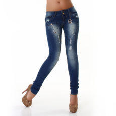 Destroyed Stonewash Skinny Fashion Blue Jeans Pants with Rhinestone Detail & Stretch by R. Display