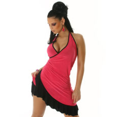 Hot Pink & Black Summer Halter Wrap Exotic Salsa Sun Dress