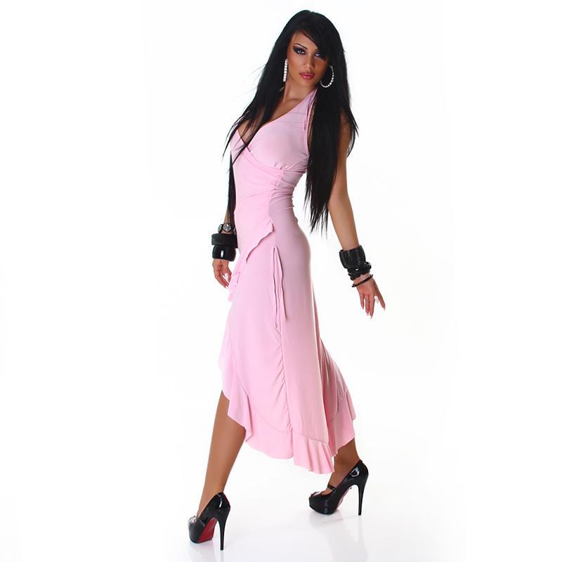 Baby Pink Dramatic Halter Exotic Salsa Wrap Hi-Low  Dress