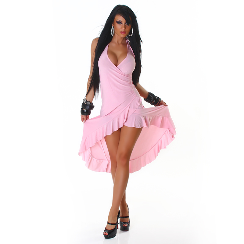 Baby Pink Dramatic Halter Exotic Salsa Wrap Hi-Low  Dress