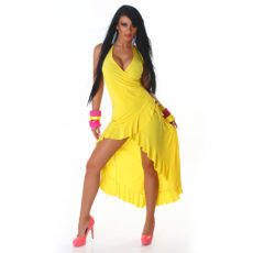 Yellow  Dramatic Halter Exotic Salsa Wrap Hi-Low  Dress