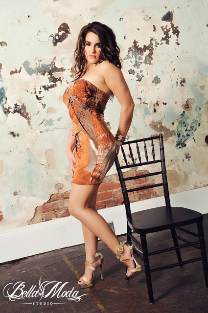 Orange & Silver Exotic Snake Print Strapless Mini Bondage Dress with Silver Rope Accent