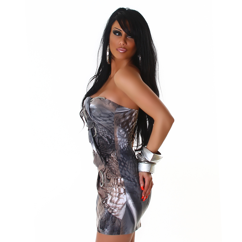 Blue Grey & Silver Exotic Snake Print Strapless Mini Bondage Dress with Silver Rope Accent