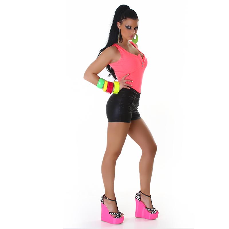 High-Waisted Black Faux Leather Daisy Dukes Mini Shorts Rocker Style