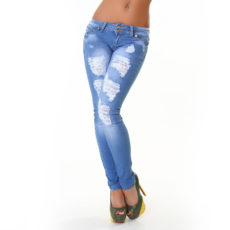 Light Blue Stonewash Skinny Ripped Destroyed Destressed Rocker Fashion Denim Jeans with Belt