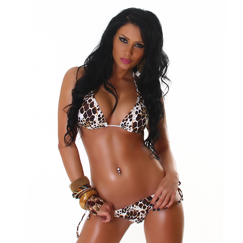 Exotic Animal Print 2 Piece String Triangle Bikini with O-Ring Accents Swimsuit