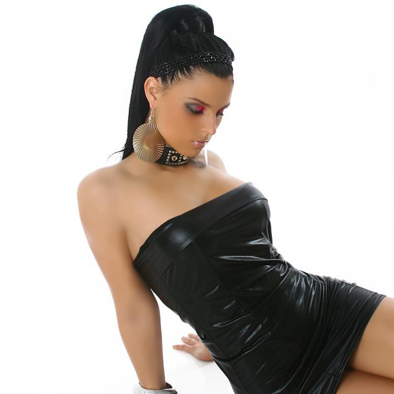 Strapless Faux Leather Clubbing Little Black Micro Mini Dress