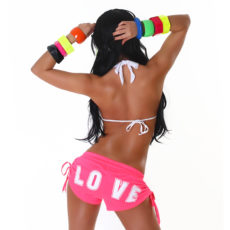 "Little Hot Pink & White ""LOVE"" Athletic Mini Sweat Shorts with Drawstring Detail"