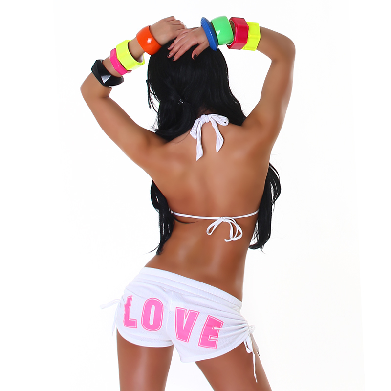 """Little White & Hot Pink """"LOVE"""" Athletic Mini Sweat Shorts with Drawstring Detail"""