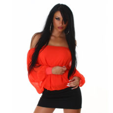 Orange Red Chiffon Like Off The Shoulder Long Sleeve Kimono Sheer Fashion Mini Dress