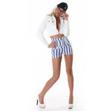 High-Waisted Light Blue & White Striped Denim Daisy Dukes Mini Jean Shorts