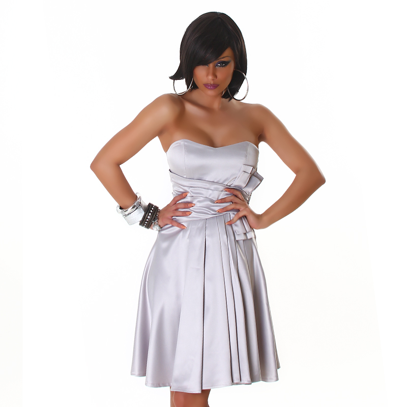 Silver Corset Back Strapless Formal   Dress