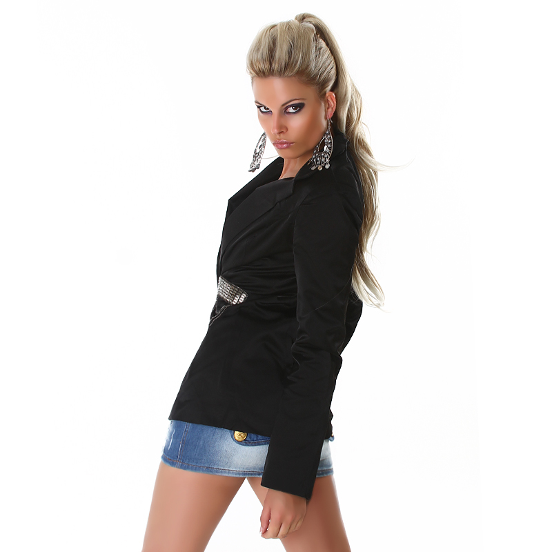 Edgy Black Collared Fashion Blazer Jacket with Charcoal Silver Chain Detail